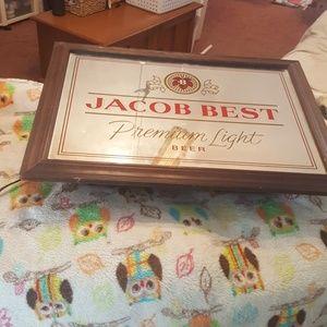 VINTAGE JACOB BEST LIGHT BEER MIRRORED LIGHT:14X20